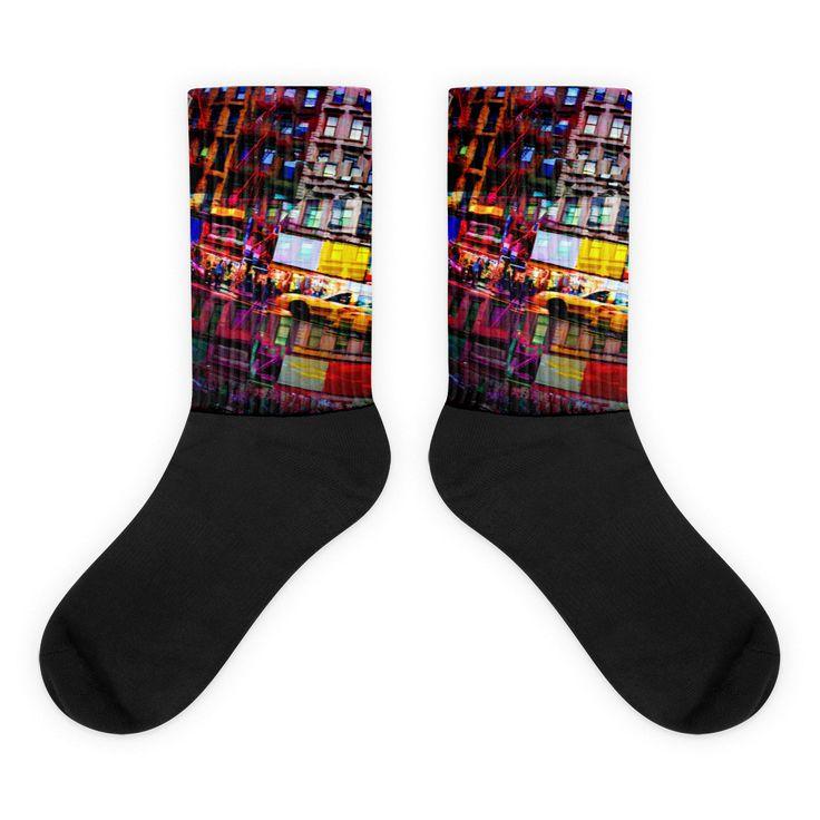 NY City Streets Black foot socks