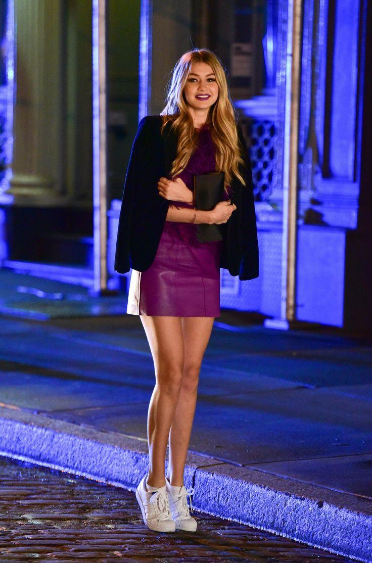 Purple mini-dress + black blazer + Adidas Superstars - Gigi Hadid