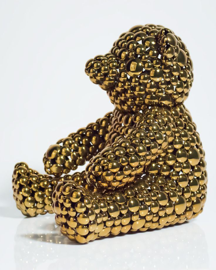 The Public House of Art | Valay Shende - Gold Teddy Bear Modern Sculpture #artisforthemany