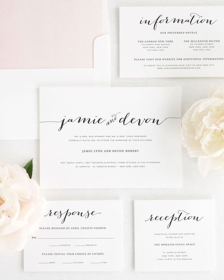 Calligraphy Wedding Invitation Suite with a Watercolor Blush Envelope Liner. Personalize your perfect invitation with Shine!