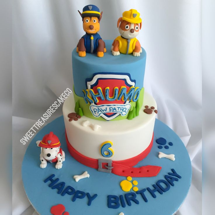 #vanilla and #buttercream #pawpatrol #cake for #Khumo who turned #6. Topped with #chase #marshall and #rubble. #southafrica #joburg #johannesburg #sweettreasures #sweettreasurescakeco #dogs