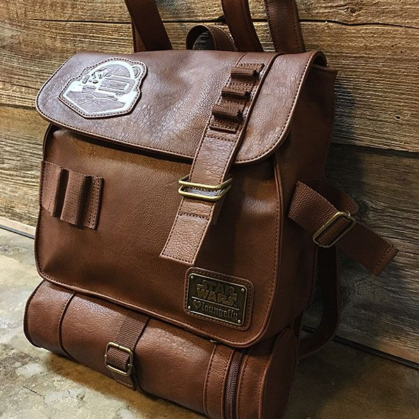 This Star Wars Rey's Backpack is one of our favorite combinations - a functional piece to add to your wardrobe that doubles as a cosplay. This faux leather backpack is modeled after the one we see Rey wearing in Star Wars: The Force Awakens .