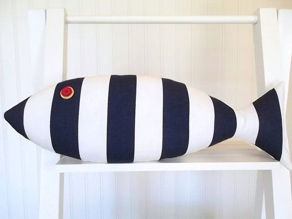 Nautical Pillow - Kids Room Decor - Navy and White - Awning Stripes - Fish Pillow