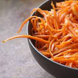 Korean carrot salad, eaten in Central Asia. It Originates in Kazakhstan prepared by displaced Koreans as a replacement for the ubiquitous Kimchi. I encountered this dish in a Kyrgyz restaurant, and I've been craving it ever since!