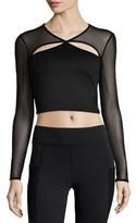 Michi Pistol Cutout Mesh-Sleeve Sports Crop Top, Black
