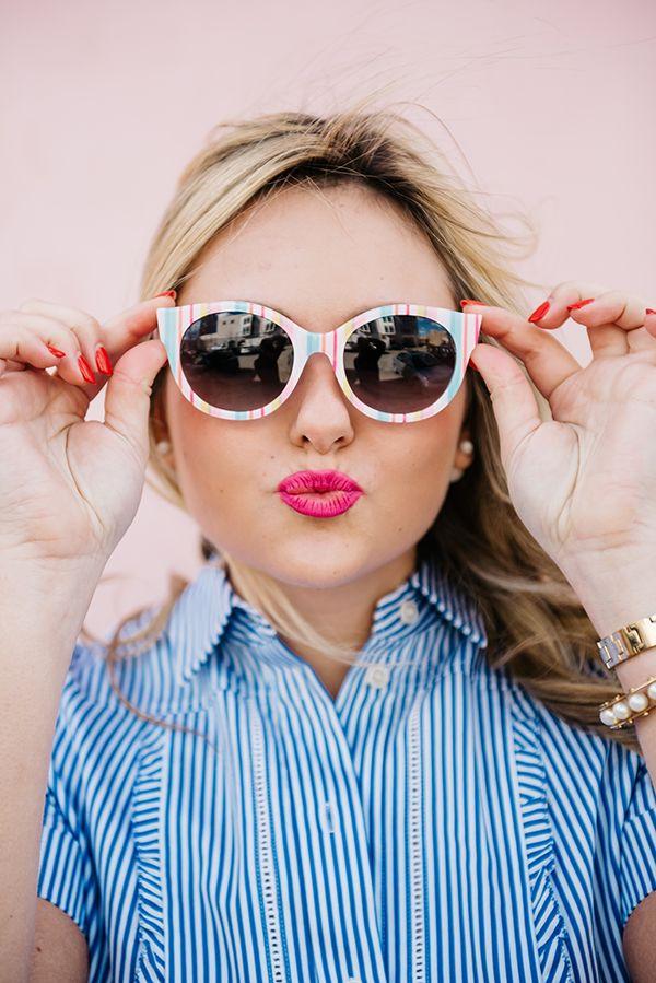 Kate Spade Striped Shirt Dress and Straw Handbag — bows & sequins