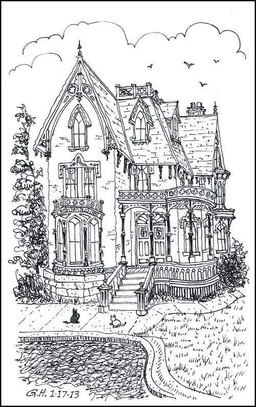 Inside House Drawing: Victorian Coloring Pages Free Big House Hard Adult