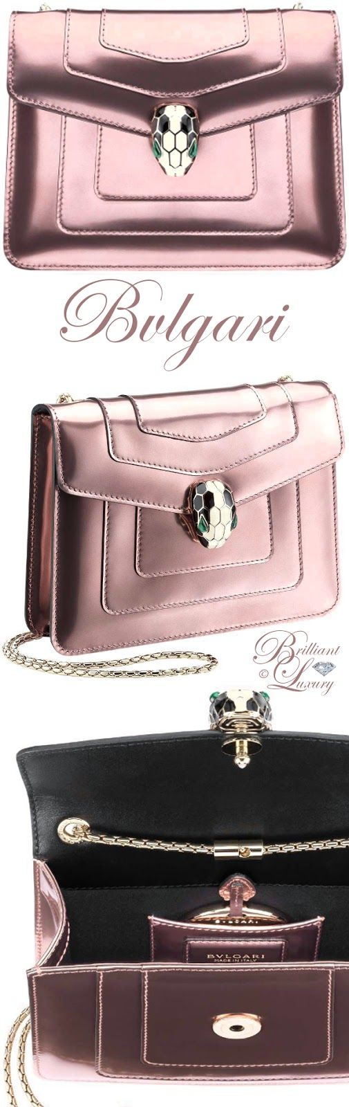 Brilliant Luxury ♦ Bvlgari Serpenti Forever brushed metallic calf leather bag with snake head closure