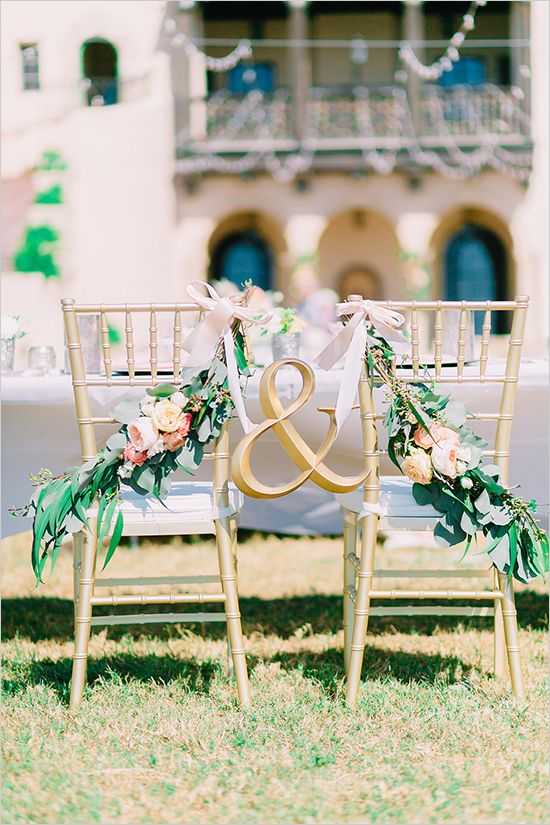 Mr and mrs chair decor. The ampersand represents the tie - the trust and love between the couple, and the the tie will always keep them together. After the ceremony, two has become one.