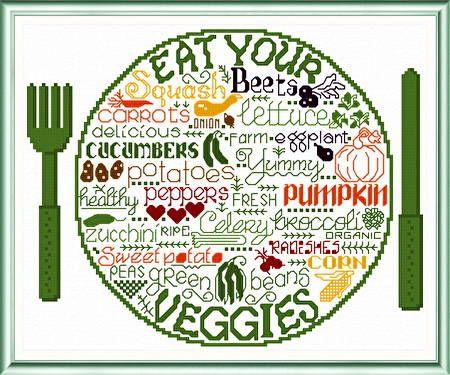 Lets Eat Veggies cross stitch pattern.