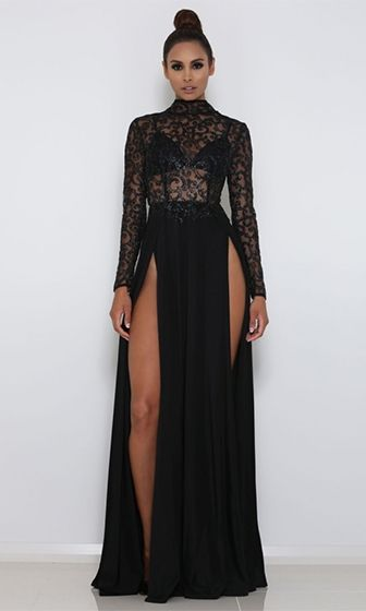 High Drama Black Glitter Sheer Mesh Long Sleeve Mock Neck Cut Out Back Double Slit Maxi Dress