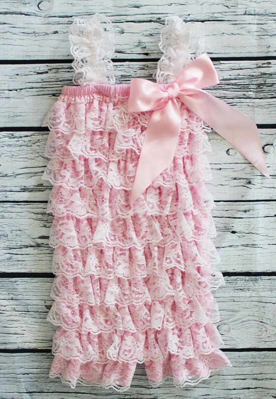 Cake Smash Pink Lace Baby Girl Romper Spring First Birthday