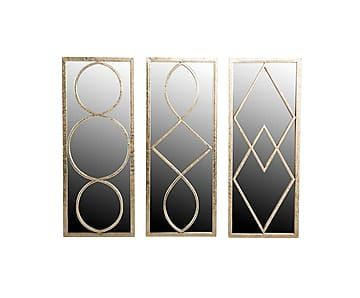 Набор из 3 прямоугольных зеркал - металл - В50хШ12хД20