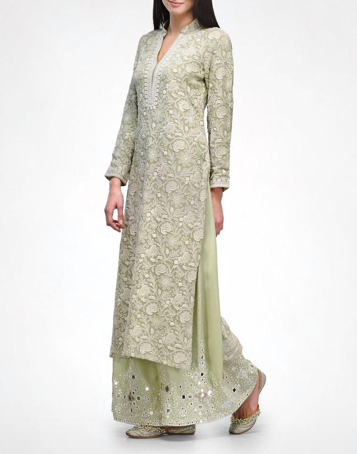 Sage Chikankari Kurta & Pyjama - Kurtas - Clothing