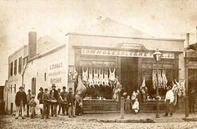 Butcher shop, Hindley Street, Adelaide 1865