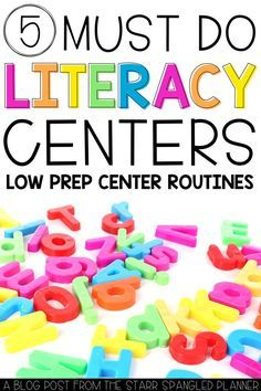 5 MUST TRY Literacy Centers for first and 2nd grade classrooms.  From organization to phonics practice and word work, these center routines cover all the bases!  Check out the FREE printables you can use in tomorrow's lessons too!