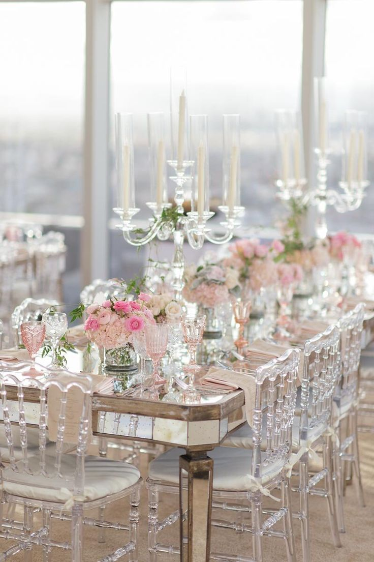{clear napoleon chairs paired with antique mirrored tables and gorgeous accents of blush pinks + a breathtaking view} #engagement
