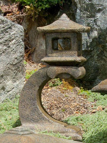 Mini Japanese Lantern - Tokyo. Stained ornamental concrete statue for Japanese garden or outdoor patio .