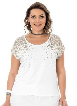 e8d74f3c85 Blusa (Branco) Rovitex Plus Size