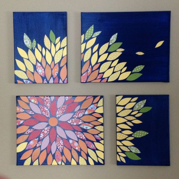 DIY Multi-Canvas Paper Wall Flower Art on 16x20 and 12x16 canvasses with scrapbook paper and acrylic paint by sue