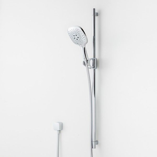 Select your shower pleasure. 'Select' is the latest touch button technology introduced in the Raindance Select E150 Premium Rail Shower by Hansgrohe. Designed by Phoenix Design, the new handshower presents a thin curved rose with soft edges and contains the 'Select' push button, a single handed function to switch between three different spray patterns intuitively and within moments.