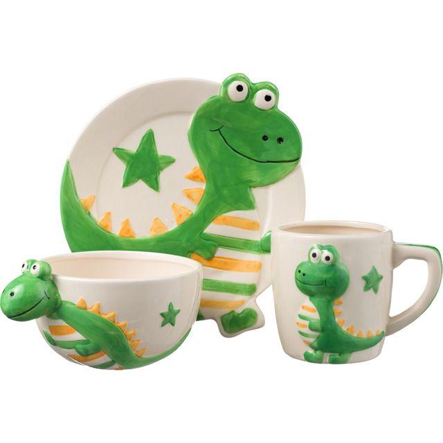 Vajilla 3 Piezas Esas pequeñas cosas Dinosaurio Cerámica verde