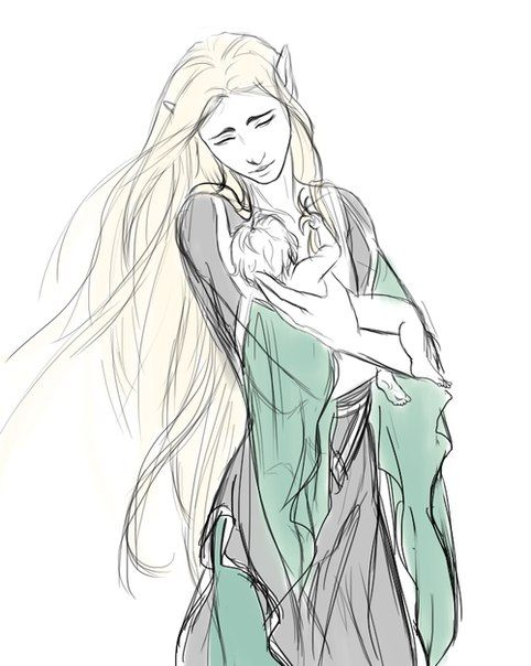 """Lady Lassiel with her baby son Thranduil. """"Ghosts"""" concept. Lassiel was Oropher's wife, and whilst in Doriath they had enjoyed a comfortable life, with Oropher earning title and estate. Lassiel was of high breed and from a noble line - her bonding with Oropher was actually a step down the social ladder, but they had a great connection and lasting friendship, and the strong willed elleth cared little for status. But Thranduil was born during their flight of Doriath and thus born homeless and…"""