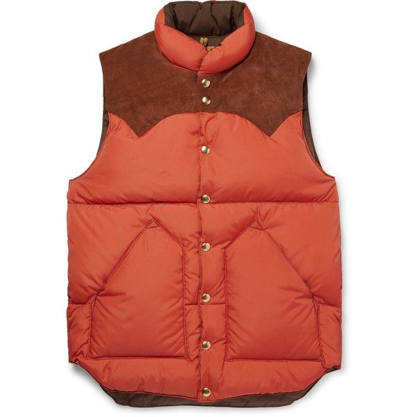 Rocky Mountain Featherbed Suede-Trimmed Quilted Nylon Down Gilet ($515) ❤ liked on Polyvore featuring men's fashion, men's clothing, men's outerwear, men's vests, mens down vest, mens quilted vest, mens nylon vest, mens insulated vest and mens orange vest