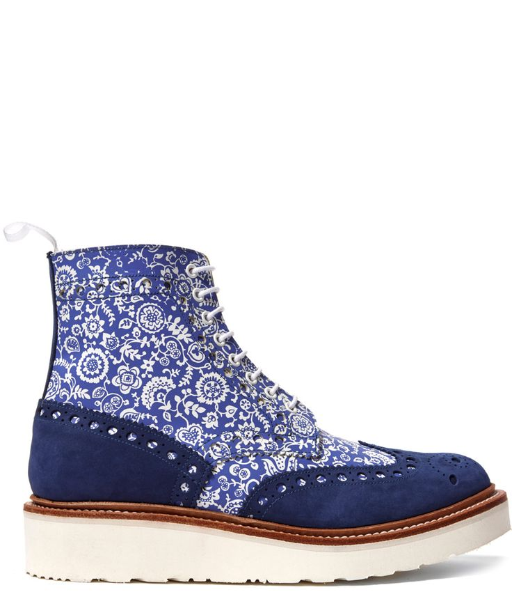 Grenson Blue Fred Liberty Print Boot | Menswear | Liberty.co.uk