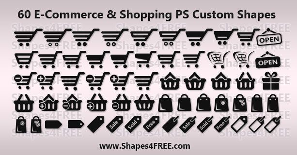 Free Shapes:  60 Shopping/E-Commerce Photoshop & Vector Shapes (CSH)