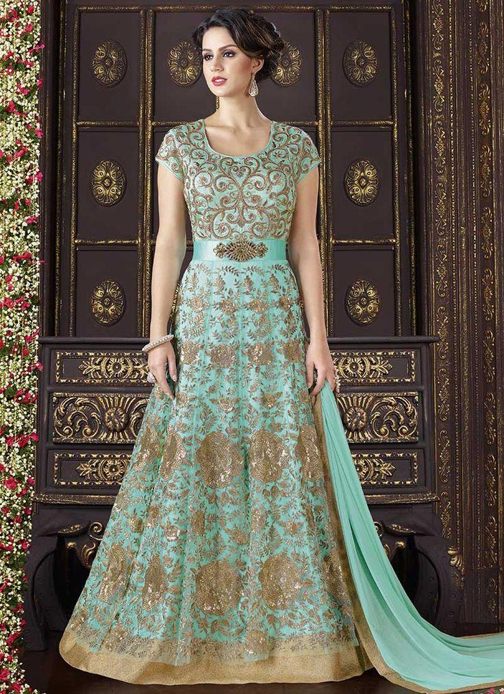Buy Sea Green Net Art Silk Abaya Style Anarkali Suit, anarkali-suit Online Shopping, SLSPRM1076