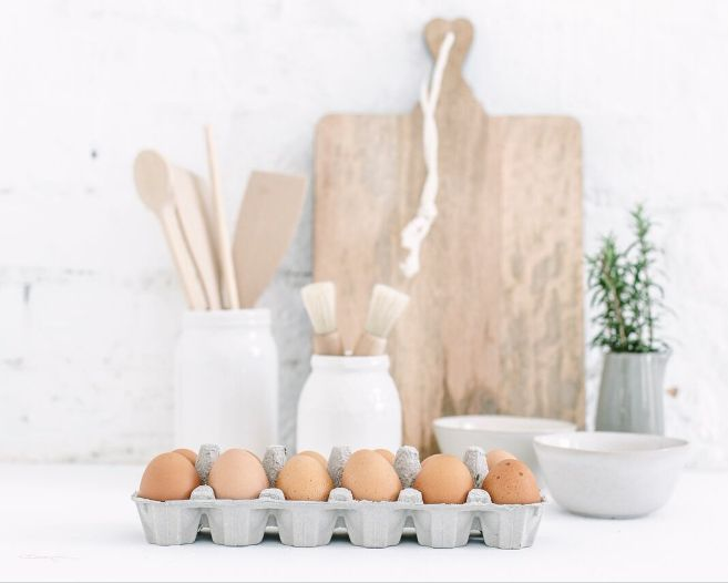 Bench top vignette by The Image Takers for Bloom & Co. #homewares #living #kitchen #beautiful #warehouse #eggs #chopping #board #scandi #timber #inspo #vignette #photography ©The Image Takers
