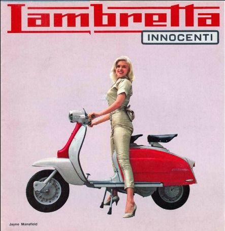 1960s Lambretta ad featuring Jayne Mansfield pretending to ride a scooter in heels.