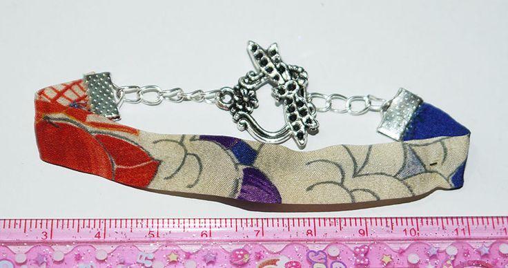 japanese kimono silk fabric and fly dragoon toggle bracelet