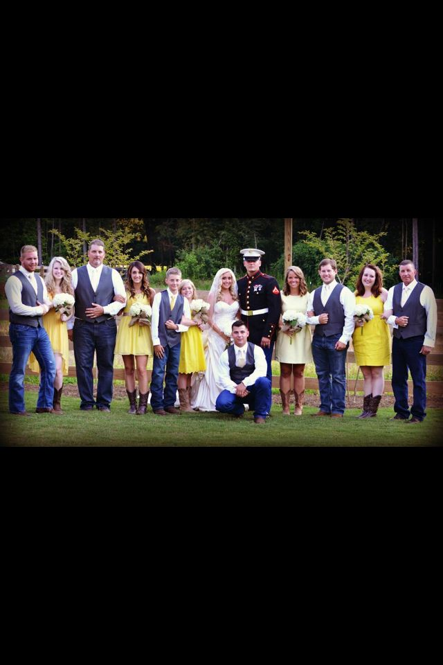 Credit to: Mandi B Photography bridal and groom party pose. Country wedding yellow and grey marine wedding dress blues