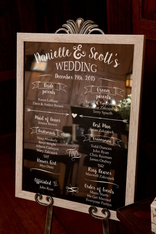 Mirror sign at winter wedding listing wedding party and order of events at Willowdale Estate willowdaleestate.com