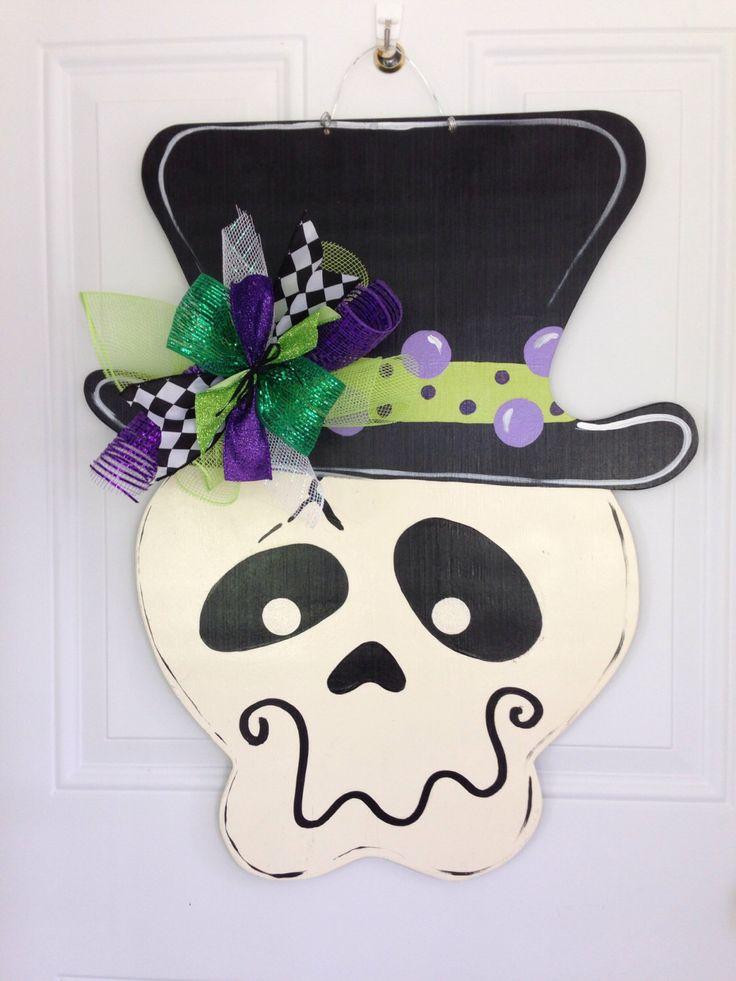 Halloween door hanger,Skeleton door hanger,Witch hat door hanger,jack o lantern door decor,candy corn bat door decor, fall wreath by Furnitureflipalabama on Etsy https://www.etsy.com/listing/202196859/halloween-door-hangerskeleton-door