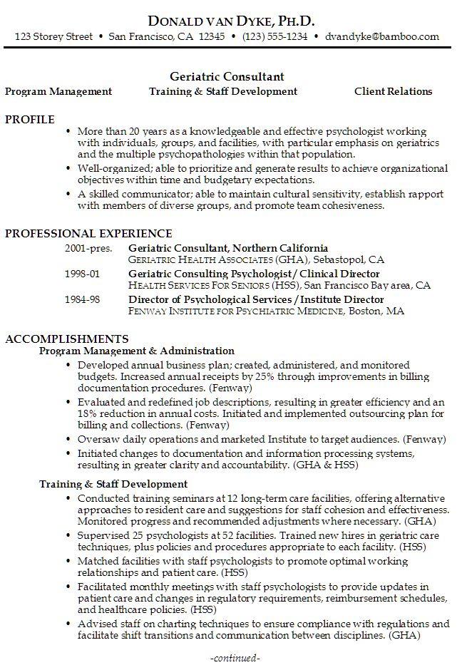 Sample Resume for Geriatric Consultant