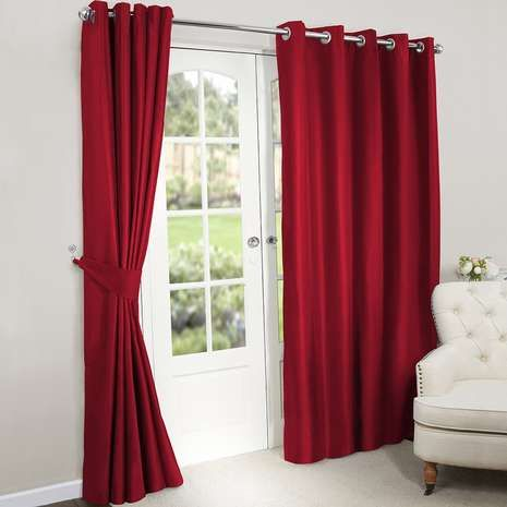Nova Red Blackout Lined Eyelet Curtains | Dunelm 168x228cm