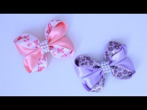 Laço rosa de fita de cetim completo \ Pink satin ribbon bow Diy - YouTube