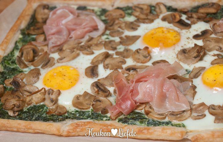 Spinazieplaattaart met ham en ei - Keuken♥Liefde