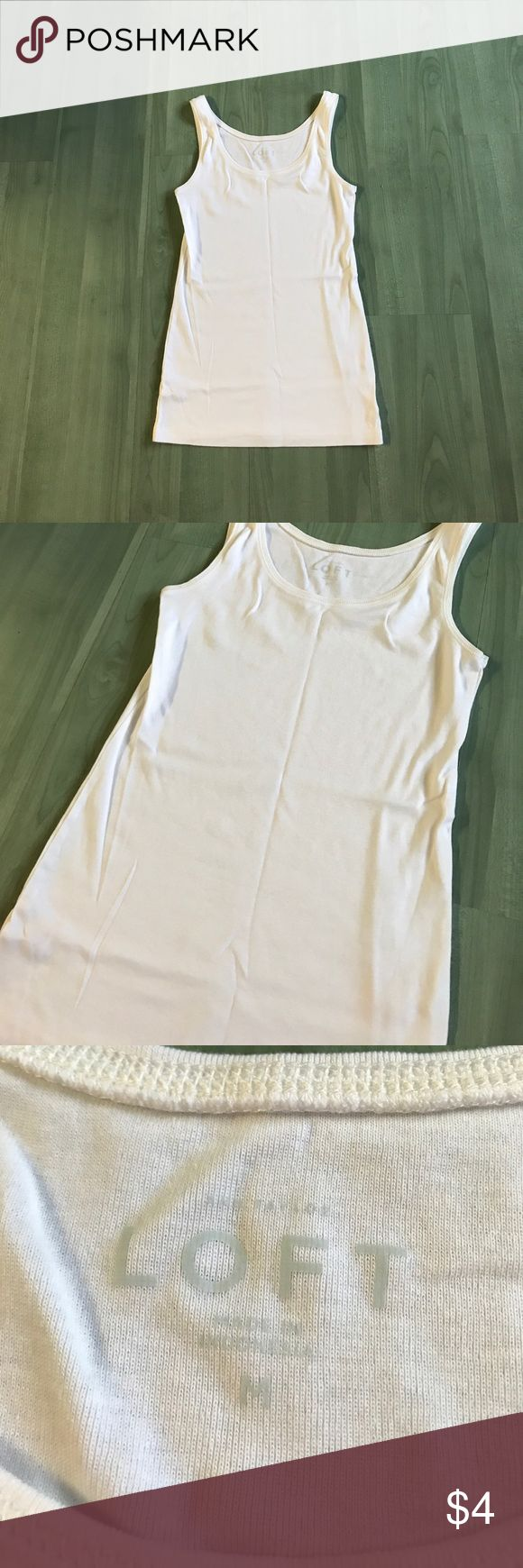 NWOT LOFT tank This was worn and washed once. Size medium. Runs small. Fits more like a small not medium. White colored essential layering tank top. No stains, smoke free home. LOFT Tops Tank Tops