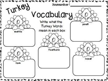 Turkeys on strike writing activity for second