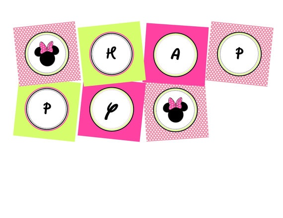 Minnie Mouse Bowtique Personalised Birthday Banner. Printable File. via Etsy