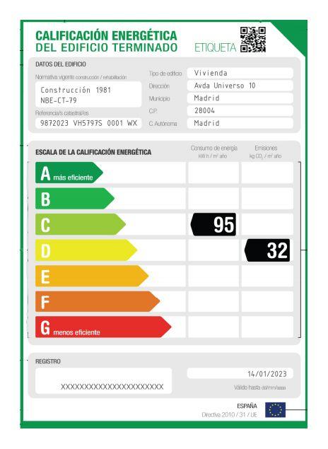 Ejemplo de Etiqueta Energética en la web de Certicalia http://www.certicalia.com/