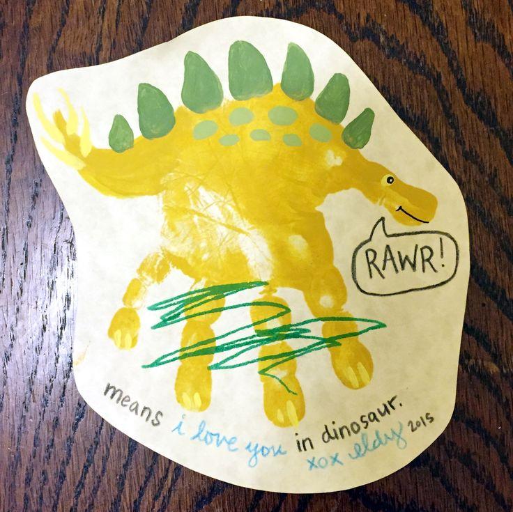 Handprint Dino dinosaur card toddler craft DIY Rawr means I love you in dinosaur