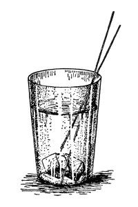 vintage glass of water clip art, old fashioned glass illustration, water on ice with straw, drinking water digital graphic, free vintage image