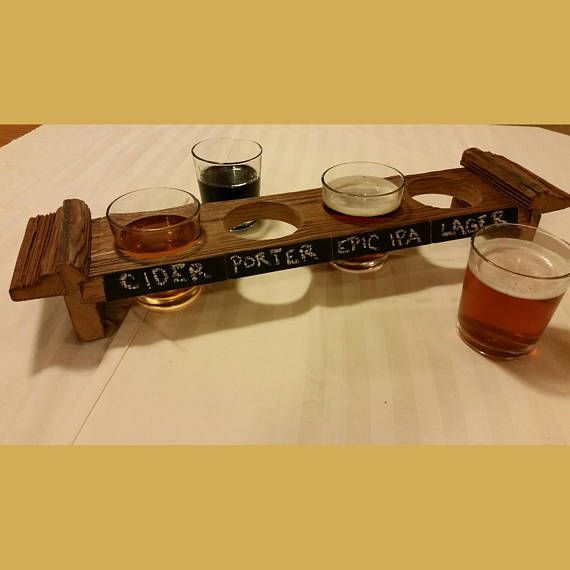 Barn Wood Beer Flight with Chalk Label Space