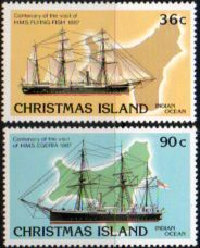 Christmas Island 1987 Visit of HMS Flying Fish and Egeira Set Fine Mint SG 227 8 Scott 373 a b Condition Fine MNH Only one post charge applied on
