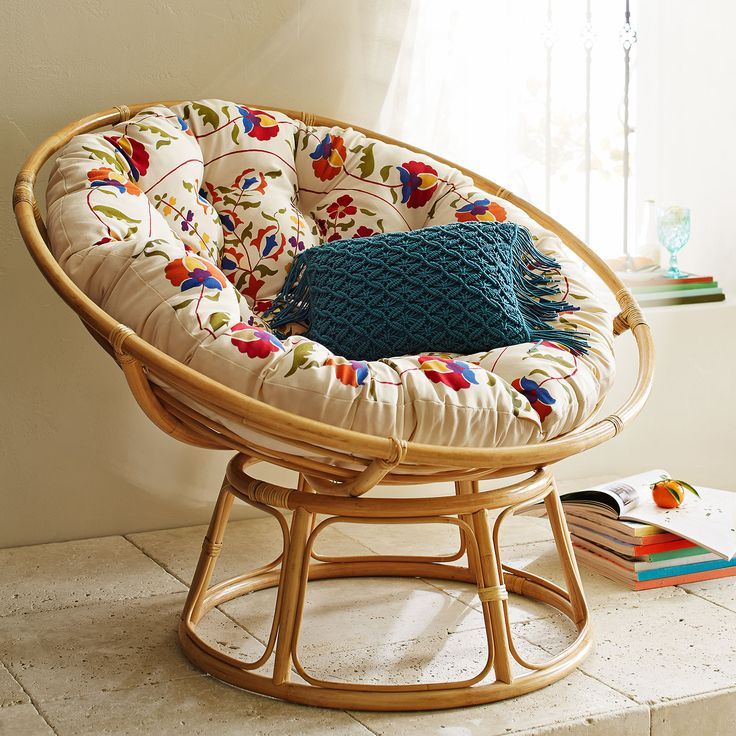 Just when you assume there's no way to improve on the fresh, natural, calming comfort of a Papasan Chair, someone creates a soft, durable Papasan cushion in a brightly colored Boho-inspired floral print. Well, that's what you get for assuming.